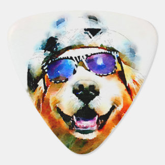 Golden Retriever in Hat and Sunglasses Watercolor Plectrum
