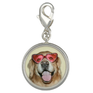 Golden Retriever in Heart Glasses Valentine's Day