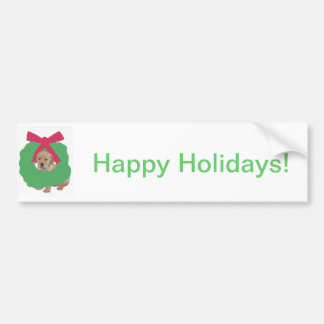 Golden Retriever in Holiday Wreath Bumper Sticker