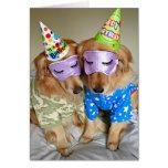 Golden Retriever in Pyjamas Birthday Greeting Card