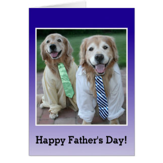 Golden Retriever in Shirt and Tie Father's Day Card