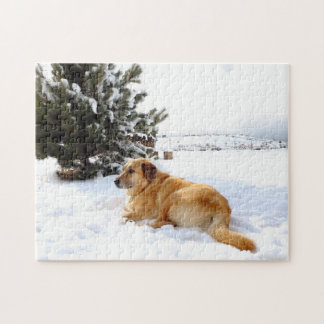 Golden Retriever in Winter Wonderland Jigsaw Puzzle