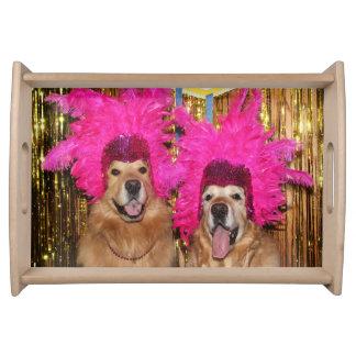 Golden Retriever Las Vegas Feathery Showgirls Serving Tray