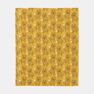 Golden Retriever Line Art Fleece Blanket