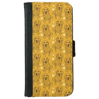 Golden Retriever Line Art iPhone 6 Wallet Case