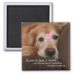 Golden Retriever Love Is Just a Word Valentine Square Magnet
