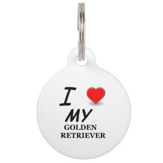 golden retriever love pet tag
