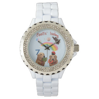 Golden Retriever Lucky Dogs Wristwatches