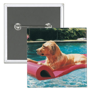 Golden Retriever Lying on an Air Bed in a 15 Cm Square Badge