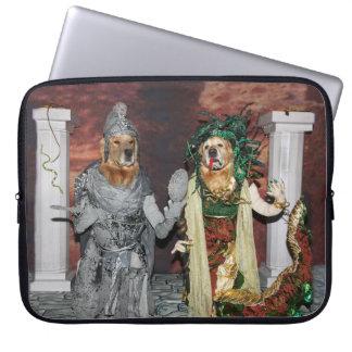 Golden Retriever Medusa and Stone Soldier Laptop Sleeve