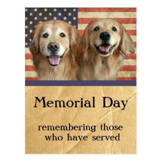 Golden Retriever Memorial Day Postcard