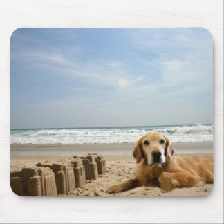 Golden Retriever Mousepad Sandcastles