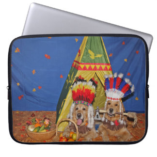 Golden Retriever Native Americans Laptop Sleeve