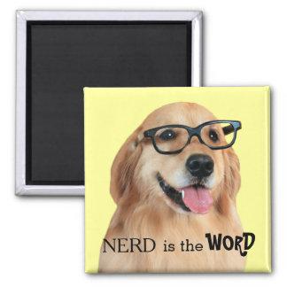 Golden Retriever Nerd is the Word Square Magnet