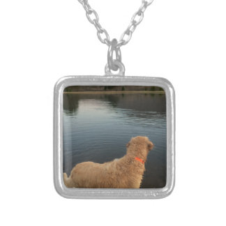Golden Retriever on a Rock at the Lake Silver Plated Necklace