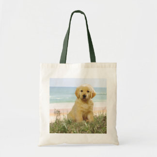 Golden Retriever On Beach Tote Bag