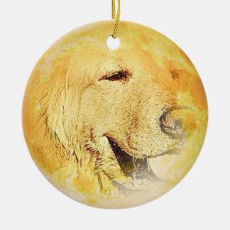 Golden Retriever on the moon Ceramic Ornament