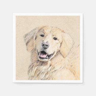 Golden Retriever Painting - Cute Original Dog Art Disposable Serviette