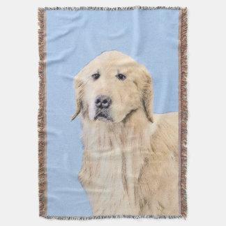 Golden Retriever Painting - Cute Original Dog Art Throw Blanket