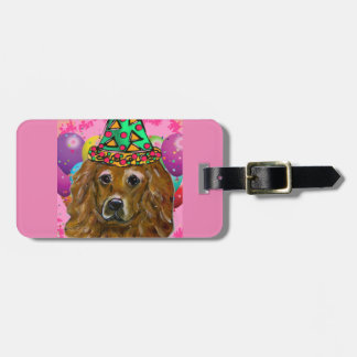 Golden Retriever Party Dog Luggage Tag