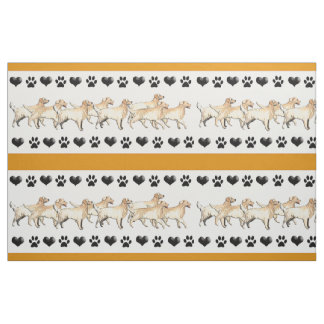 Golden Retriever Pawprints and Hearts fabric