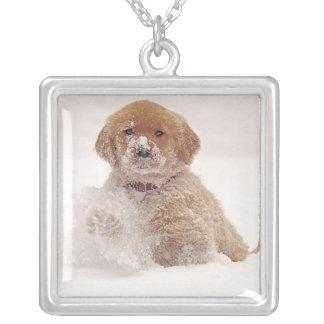 Golden Retriever Pup in Snow Square Pendant Necklace