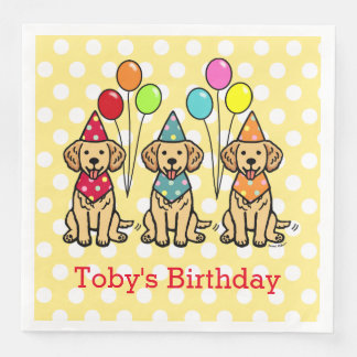 Golden Retriever Puppies Birthday Polka Dot Disposable Napkins