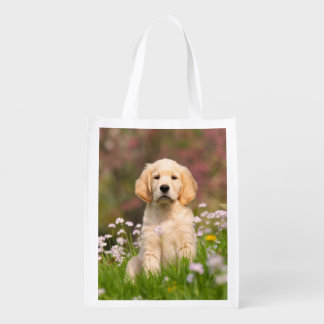 Golden Retriever puppy a cute Goldie Reusable Grocery Bag