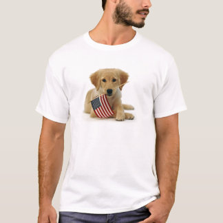 Golden Retriever Puppy and Flag T-Shirt