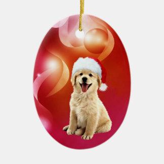 Golden retriever puppy Christmas Ceramic Ornament