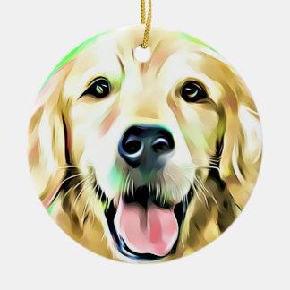 Golden Retriever Puppy Dog Digital art Ceramic Ornament