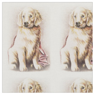 Golden Retriever Puppy dog pet portrait drawing Fabric