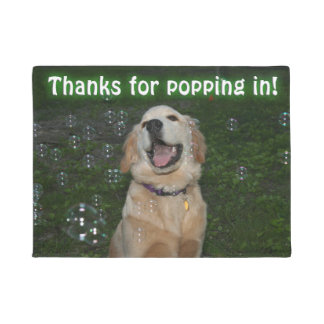 Golden Retriever Puppy In Bubbles Popping in Doormat