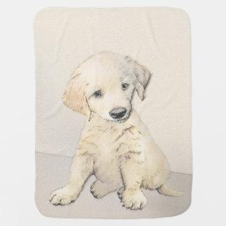 Golden Retriever Puppy Painting - Original Dog Art Baby Blanket