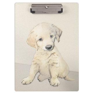 Golden Retriever Puppy Painting - Original Dog Art Clipboard