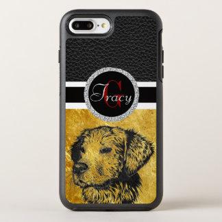 Golden retriever puppy portrait in black and gold OtterBox symmetry iPhone 8 plus/7 plus case