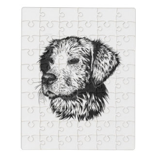 Golden retriever puppy portrait in black and white jigsaw puzzle