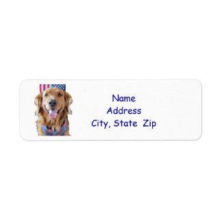 Golden Retriever Return Address Label,  July 4th Return Address Label
