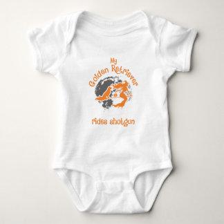 Golden Retriever Rides Shotgun Halloween Baby Bodysuit