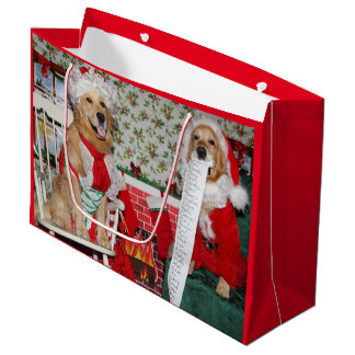 Golden Retriever Santa and Mrs. Claus Large Gift Bag