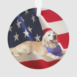 Golden Retriever Sassy American Flag Ornament