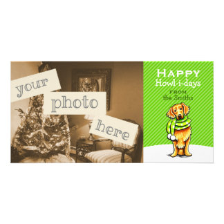 Golden Retriever Scarf Christmas Modern Green Photo Card Template