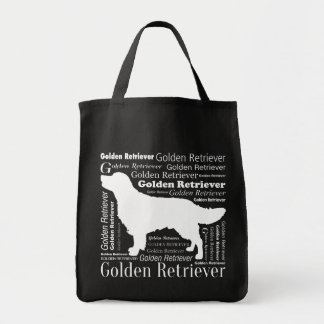 Golden retriever silhouette with Typography Tote Bag