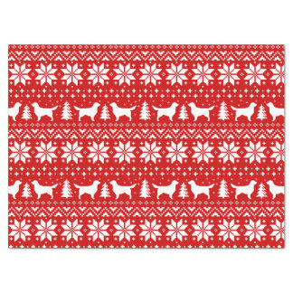 Golden Retriever Silhouettes Christmas Pattern Tissue Paper
