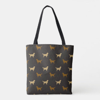 Golden Retriever Silhouettes Pattern Tote Bag