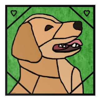 Golden Retriever Smile Stained Glass Design Acrylic Print