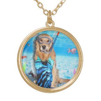 Golden Retriever Snorkeler Gold Plated Necklace