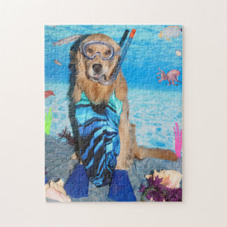 Golden Retriever Snorkeler Jigsaw Puzzle