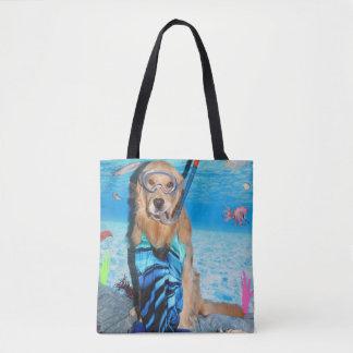 Golden Retriever Snorkeler Tote Bag