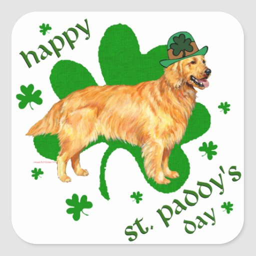 Golden Retriever St Paddy's Day Square Stickers